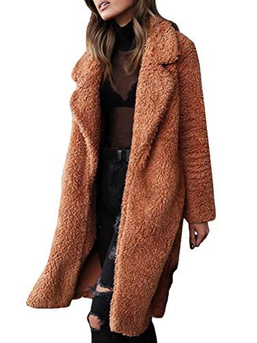 Minetom Femme Hiver Manteau Longue Mode Manches Longues Chaud Peluche Parka Devant Ouvert Veste Blouson Tops Chic Oversized Couleur Unie Outwear Marron FR 50