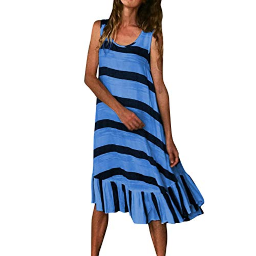LSAltd Sommer Frauen Casual Striped Print Sleeveless Plus Size Strandkleid Damen Kurze Rüschensaum Täglich Langes Kleid