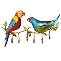 Jaipur handicrafts hub Iron Wall Hooks Hanger Parrot On tree Branch Hanger with 6 Hooks For Coats, Hats, Keys, Towels, Clothes Storage Hanger