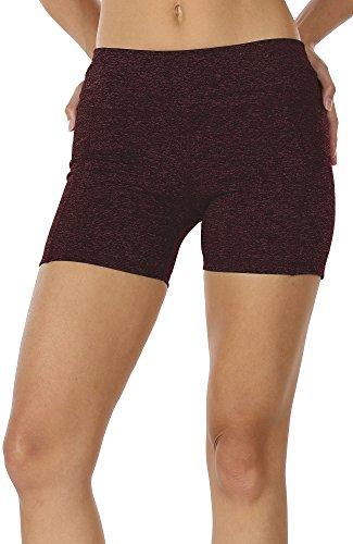 Spandex Workout Shorts (icyzone Damen Tights Shorts Sport Kurze Hosen - Laufshorts Fitness Yoga Leggings (L, Wine))