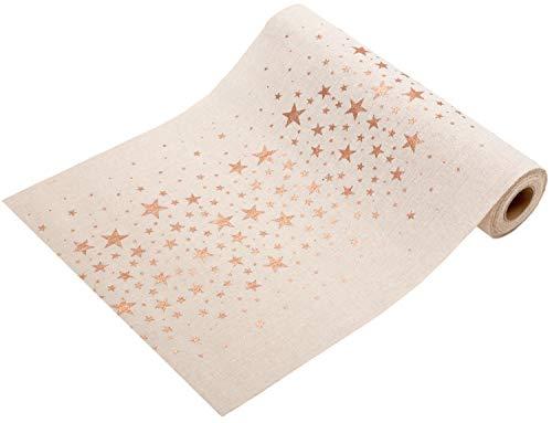 100%mosel runner da tavolo stelle oro rosa | rame, effetto naturale, 28cm x 5m | | decorazione da tavolo natale + tempo di avvento | fascia decorativa festa di natale da tavolo