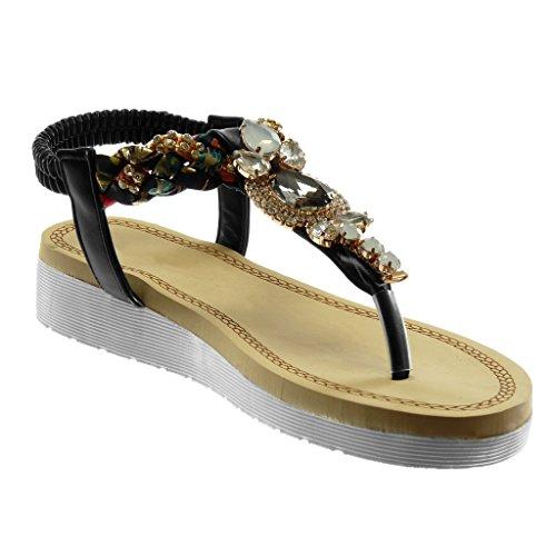 Scarpe Tacco cm 5 Slip Nero Gioielli Strass Intrecciato On Moda Sandali Zeppa Piattaforma Angkorly Cinturino Infradito 3 Zeppe Donna fpwq77d4