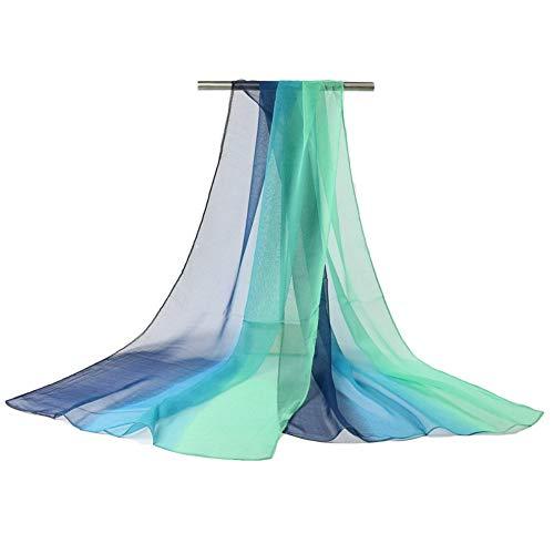 CUICUIMM Damen Seidenschal Farbverlauf Seidenschal Damen Schal Schal Georgette Strandtuch Simulation Seidenschal 180 * 70cm, dunkelblau grün Georgette Poncho