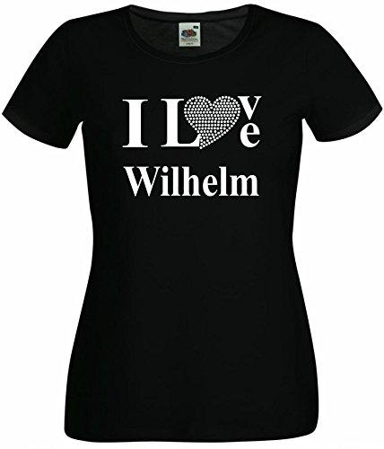 T-Shirt I Love Wilhelm mit einer Strassaplikation / Strassherz Schwarz