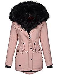 Schwarze winterjacke mit pinkem fell