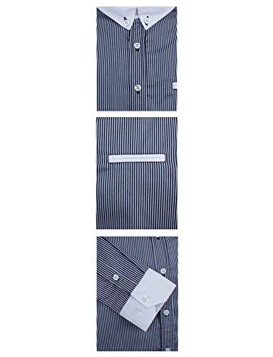 HRYfashion classic chemise pour homme à manches longues rayé avec sac Noir - Noir
