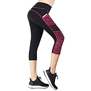 Flatik Damen Sport Leggings (Blickfang 12 Farben) Hohe Taille Fitnesshose Blickdichte Leggins Glanz Training Tights Strech Yoga Sporthose Strumpfhosen mit Tasche