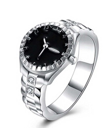 MJARTORIA Unisex Silver Color Watch Shaped Rhinestone Ring (Size 7)