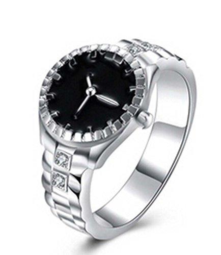 MJARTORIA Unisex Silver Color Watch Shaped Rhinestone Ring (Size 7)