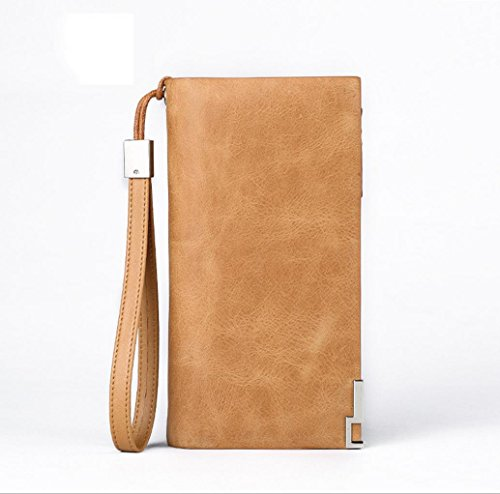 Heart&M Leder Geldbörsen Portemonnaie Geldbörse Männer Brieftasche Leder Handy Tasche Multi-Funktions-Hand Zipptasche honey yellow