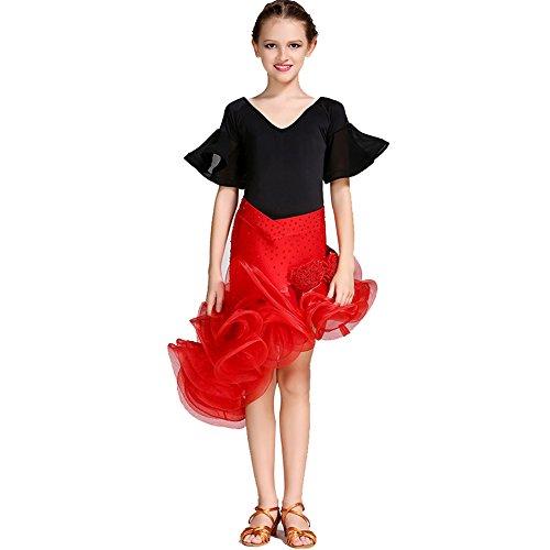 Q-JIU Kinder Latin Dance Rock Performance Spandex Viskose Kristall/Strass Flower Chiffon Horn Ärmel Gemeinsame Strumpfhosen/Kleider,Red,S -