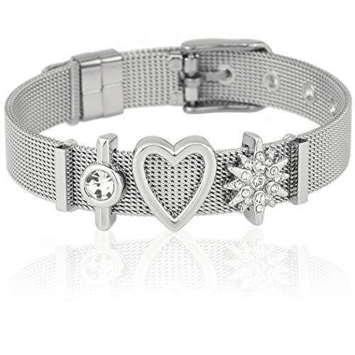 SUNIANA® - Mesh Armband Set mit Charms ♥I'mYours♥ individuell erweiterbar  Charmband (Silber) (Valentine-silikon-armbänder)