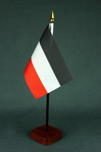 Kleine Tischflagge Deutsches Kaiserreich schwarz weiß rot Kaiserflagge 15x10 cm mit Tischflaggenständer 30 cm aus Holz, sehr standfest
