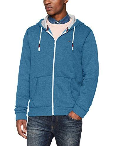 Tommy Jeans Herren Original Zip Hoodie Langarm  Langarmshirt Blau (Blue Sapphire 423) Large Denim Long Sleeve Sweatshirt