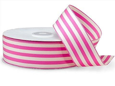 Hot Pink Cabana Stripes Ribbon1-1/2 inch X25 Yds 100% Nylon