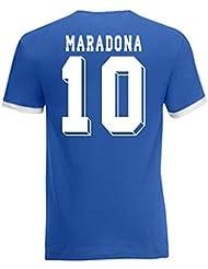 Diego Maradona Argentina Ringer Tee (blue)