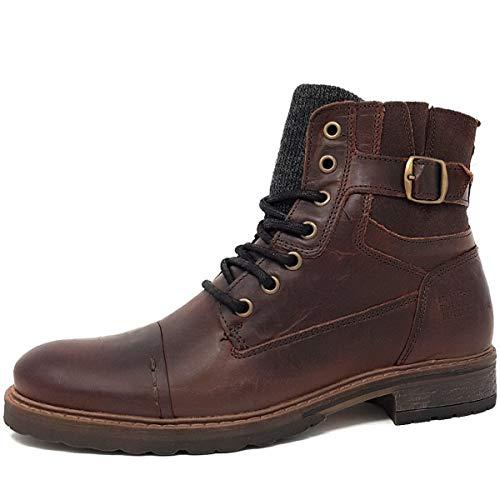 BULLBOXER Herren Stiefel 285K84158,Männer Boots,Lederstiefel,Schnürstiefel,Combat,Chukka,Blockabsatz,Brown,EU 44
