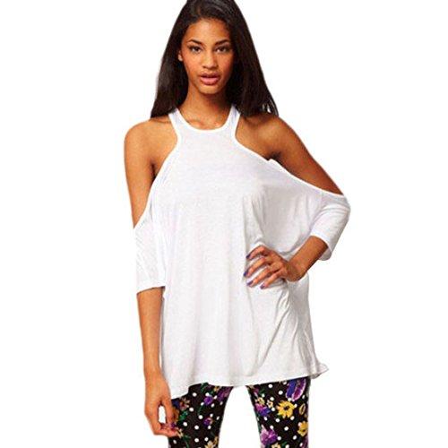 Culater® Femmes Chic T-shirt Personnalité Bretelles dos nu Percé T-shirt Vest Blanc