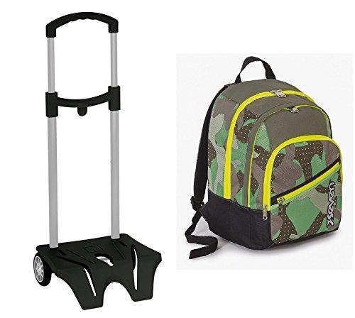 Zaino scuola seven + easy trolley - fit - verde mimetico camouflage 28 lt doppio scomparto