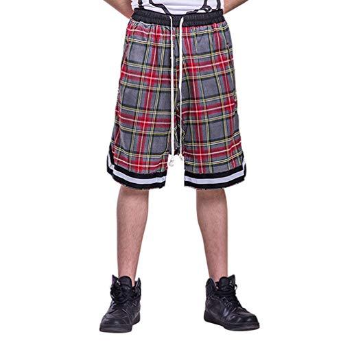 Feidaeu Herren Shorts Jogginghose Klassische Retro Plaid Stretch Kordelzug Elastische Taille Fünf Punkte Hose Mit Reißverschlusstasche -