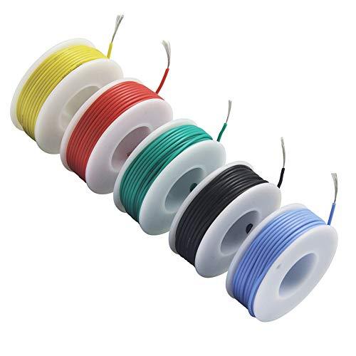 NorthPada 20 AWG 0,52mm² Elektronik Elektrischer Draht Kit Litzen Silikon Leitungen Draht Verzinntes Kupfer Kabel 5 Farbe 600V 5A -60°C - +200°C 5 x 7meter