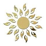 Shengyaju 3D Girasole Acrilico Specchio Decorativo Wall Sticker DIY Art Decalcomanie per Soggiorno Camera da Letto Decorazione murale (Oro) Golden