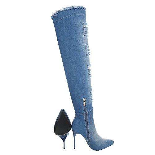 Ital-Design Chaussures Femme Bottes et Bottines Aiguille Bottes Cuissardes lumière bleue OD-219