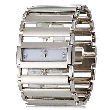 XKC-watches Herrenuhren, Frauen Quadratische Gehäuse Breite Edelstahl Band Analog Quarz Armband Uhr (Verschiedene Farben) (Farbe : Silber)
