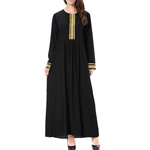 Hzjundasi islámico Apparel Cuello redondo Manga larga Applique Musulmán Mujer Kaftan Maxi Vestido Iglesia Plegaria Vestido Longitud completa Malasia Arabia Saudita Abaya Robe,TH903