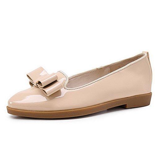VogueZone009 Femme Couleur Unie Pu Cuir à Talon Bas Pointu Tire Chaussures Légeres Abricot