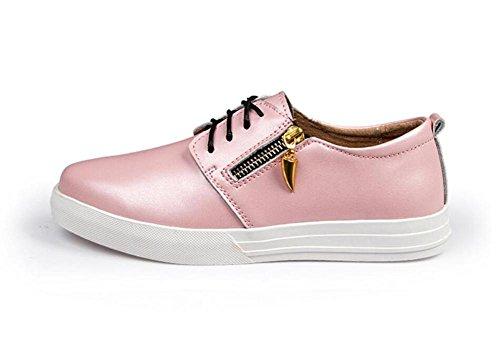 LDMB Frauen Casual schnüren sich oben Lederschuhe mit kleinen weißen Schuhen Pink
