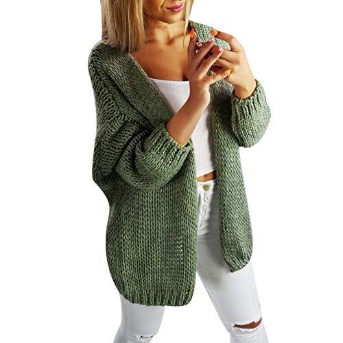 (MIRRAY Damen Lange Ärmel Solide Cardigan Tops Pullover Vertuschen Strickmantel Grau Grün M L XL)