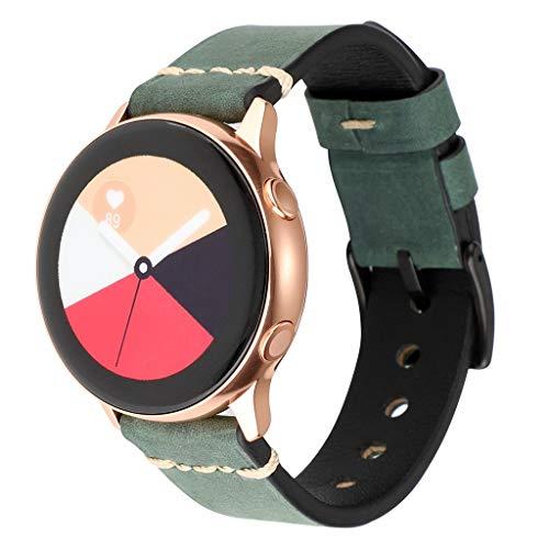 WAOTIER für Samsung Galaxy Watch Active Armband Beunruhigt Mattes Leder Armband für Samsung Galaxy Watch Active mit Schwarzem Edelstahl Verschluss Armband für Männer Damen Retro Armband (Grün)
