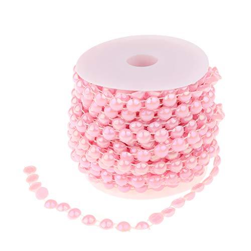 P Prettyia Chaîne Perles Demi-Cercle Perles Artificielles en ABS Décoration Bouquet De Mariée Table Rideaux - Rose