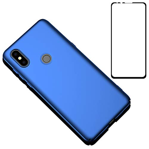 BLUGUL Coque Xiaomi Mi Mix 3 + Verre Trempé, Ultra Mince, Entièrement Protecteur, Sensation de Soie, Écran Protecteur et Dur Housses pour Xiaomi Mix 3 Bleu