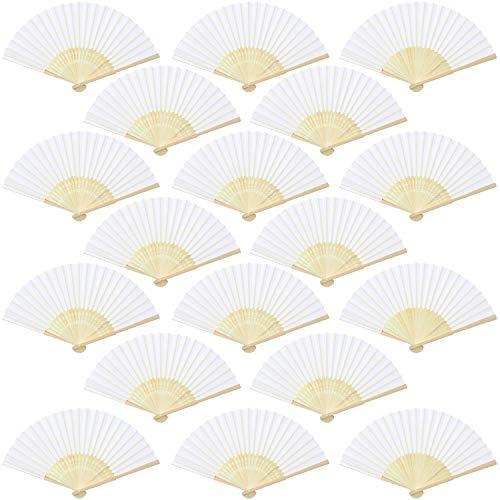 Aneco 18 abanicos de Mano de Tela de bambú abanicos Plegables para decoración de Bodas, Regalos de Iglesia, Regalos de Boda, Regalos de Fiesta, decoración de Bricolaje, Blanco