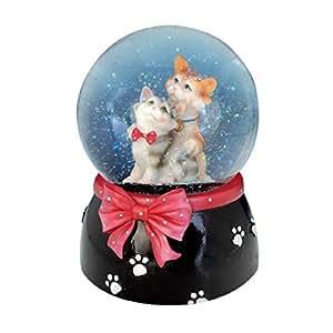 Le Monde de la Boîte à Musique - Chats dans une boule de neige avec un ruban rouge - Toute la boule tourne sur la mélodie«Alley Cats» - Diamètre 100 - mm