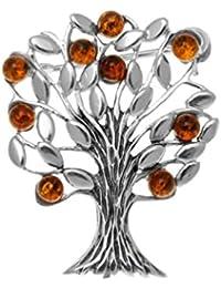 Ámbar y plata de ley de árbol de la vida broche