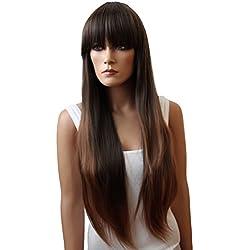 PRETTYSHOP peluca de la pelucapelo largo liso de fibra sintética resistente al calormarrón FZ502f