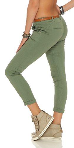 ZARMEXX signore allungano pantaloni skinny con cintura Chino pantaloni scarni Jeggings molti colori armee