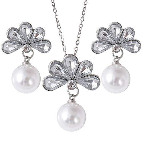 Merssavo Aretes de Perlas de Diamante Flor Collar Conjunto