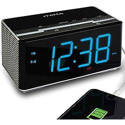 iTOMA Radio Réveil avec Radio FM numérique, Bluetooth, Double Alarme, réglage Automatique de l'heure, Port de Charge USB, entrée auxiliaire, Batterie de Secours (CKS3501BT)