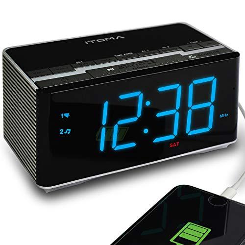 iTOMA Radio Réveil avec Radio FM numérique, Bluetooth, Double Alarme, réglage Automatique de...