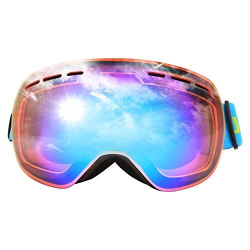 AOLVO Skibrille Überbrille, UV400, Snowboardbrille, Antibeschlag-Motorrad, Doppelschicht, Skaterbrille mit Etui für Damen und Herren, Outdoor-Sport-Zubehör Orange-Blue