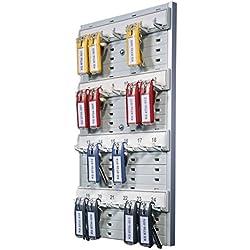 DURABLE 195610 - Key Board 24, pannello portachiavi da parete, 215x362x32 mm, capacità 24 chiavi, grigio