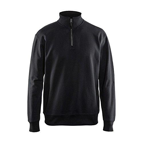 Sweatshirt mit Half-Zip Schwarz XL -