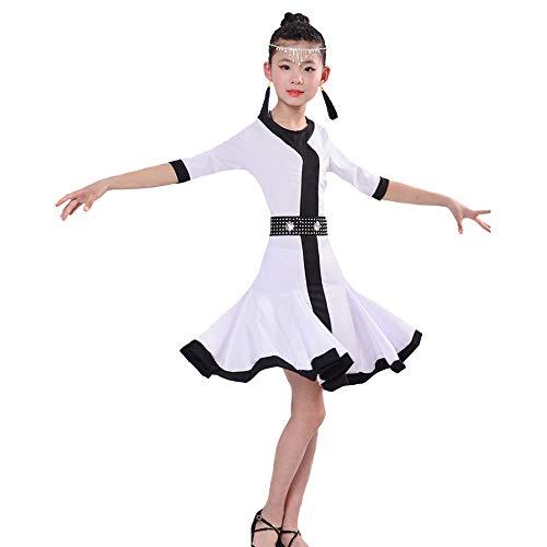 HUO FEI NIAO Tanz Kostüme - Kinder Latein Tanz Kleid Sommer Kinder Latein Praxis Kleidung Weiß Kurzarm Mädchen Performance Wettbewerb Einteiler Tanzkleid (Farbe : Weiß, größe : 160cm)