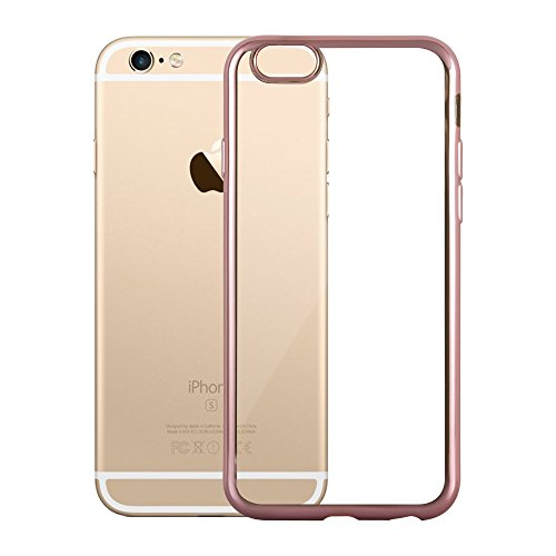 Cadorabo - Ultra Slim TPU Chrome Etui Housse Gel (silicone) pour Apple iPhone 6 / 6S - Coque Case Cover Bumper en CHROME-ARGENT CHROME-OR-ROSE