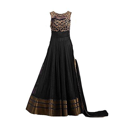 Purva Art Kids Latest Net Black Semi- Stitched Gown For Beautiful Girls...