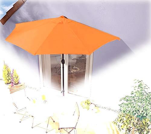 IMC Sonnenschirm halbrund orange Balkon mit Kurbel Wandschirm Marktschirm Balkonschirm Sonnenschutz Halbschirm halb